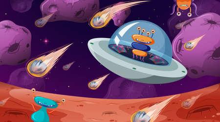 Alien in space scene illustration Illusztráció
