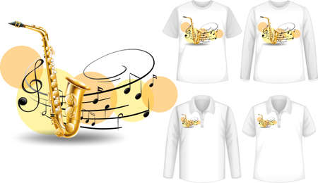 Mock up shirt with saxophone music instruments illustration Vector Illustration