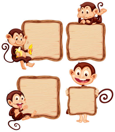 Board template with cute monkeys on white background illustration