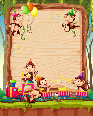 Blank wooden board template with monkeys in party theme on forest background illustration