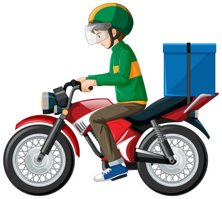 Man riding scooter on white background illustration