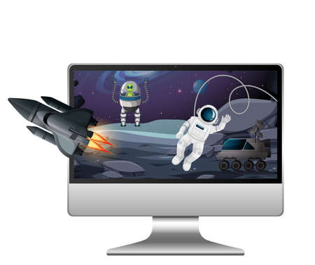 Galaxy background on computer screen illustration