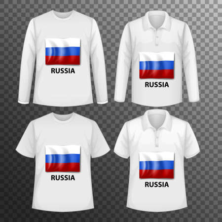 Set of different male shirts with Russia flag screen on shirts isolated illustration