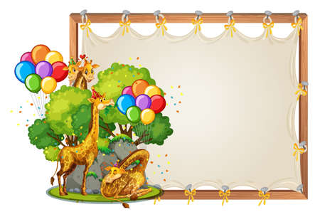 Canvas wooden frame template with giraffes in party theme isolated illustration