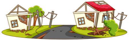 Houses destroy from natural disaster illustration Ilustración de vector