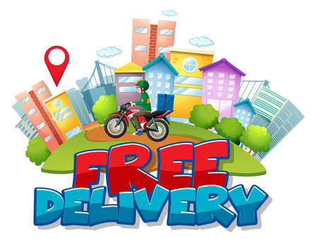 Free delivery   with bike man or courier riding in the city illustration