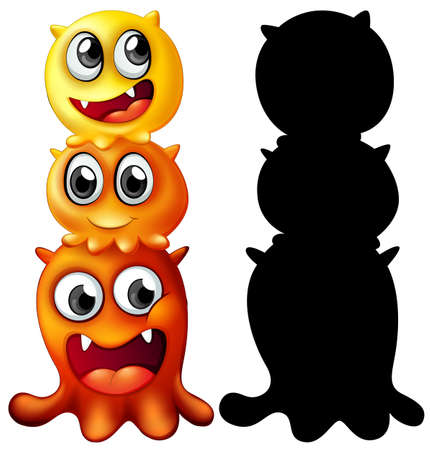 Monster with its silhouette on white background illustration Vector Illustration