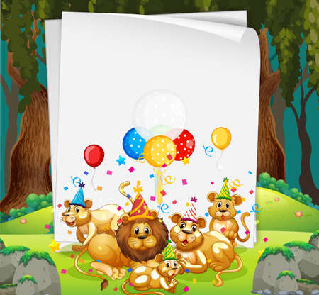 Blank banner with many lions in party theme illustration