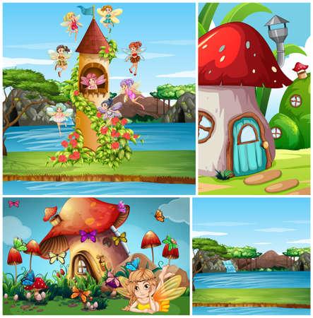 Set of fantasy background illustration Vecteurs