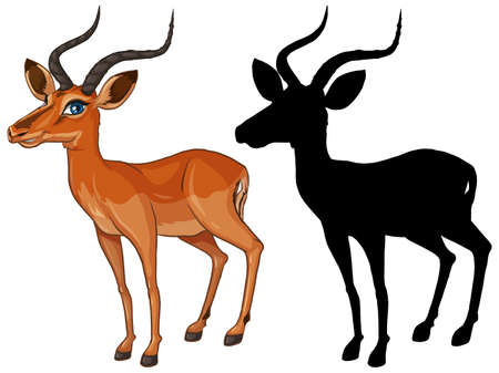 Gazelle cartoon character and its silhouette on white background illustration Vecteurs