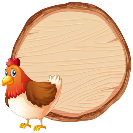 Blank sign template with cute chicken on white background illustration