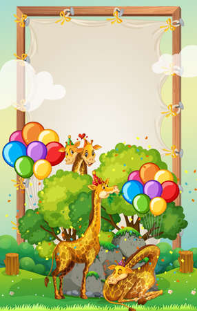 Canvas wooden frame template with giraffes in party theme on forest background illustration Illustration