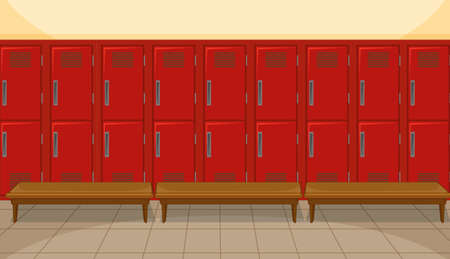Sport changing room with locker background illustration