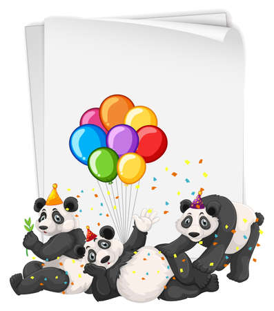 Blank banner with many pandas in party theme illustration