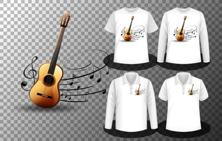 Guitar music notes  with Set of different shirts with Guitar notes  screen on shirts illustration