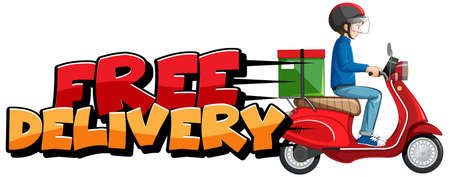 Free delivery  with bike man or courier illustration