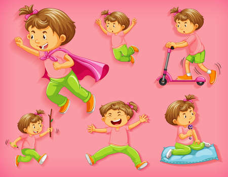 Set of cute boy with different positions isolated on pink background illustration