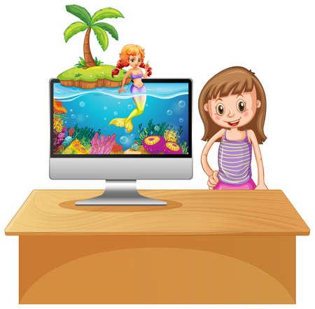 Mermaid on computer screen  illustration