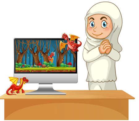Fairy tale on computer desktop screen illustration