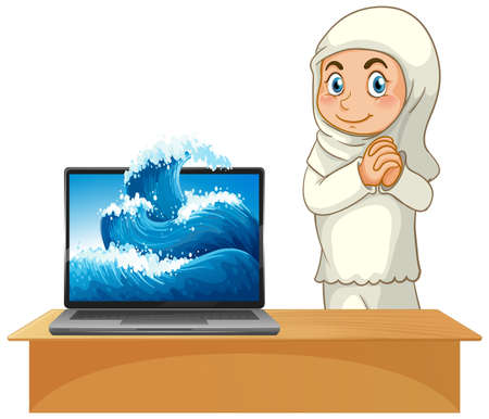 Muslim girl next to computer on white background illustration