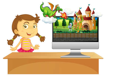 Happy girl next to computer with castle desktop screen background illustration