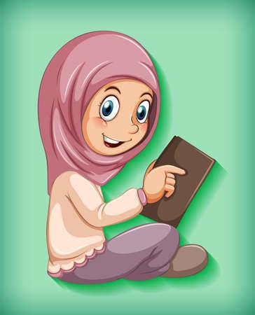 Muslim girl reading the book illustration