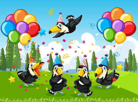 Many birds in party theme in nature forest background illustration