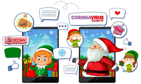 Online Xmas celebration through mobile device illustration