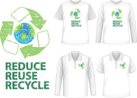 Mock up shirt with recycle icon illustration