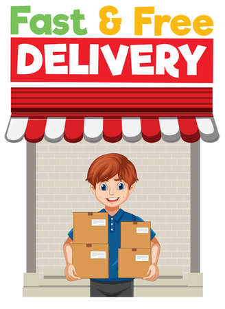 Fast and free  with deliver or courier man in blue uniform cartoon character illustration