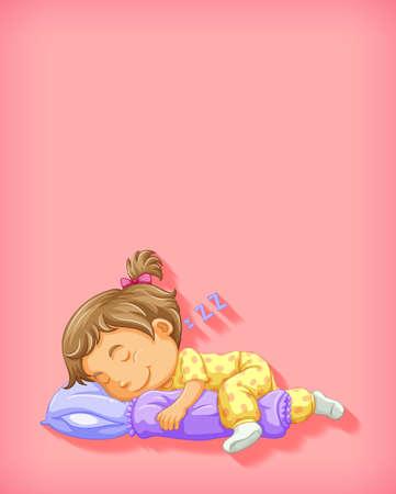 Cute girl sleeping cartoon character isolated illustration