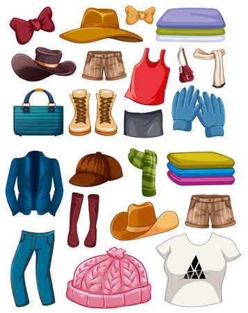 Set of fashion outfits and accessories on white background illustration Vetores