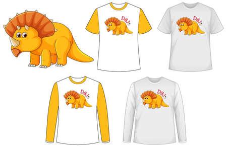 Mock up shirt with dinosaur cartoon character illustration