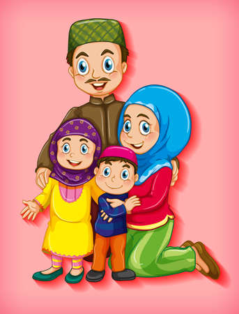 Muslim family member on cartoon character colour gradient background illustration