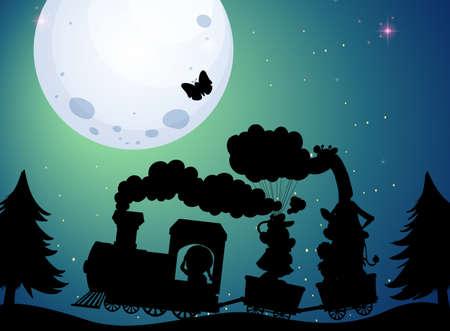Train travel at night silhouette scene illustration