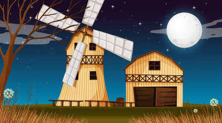 Farm scene with barn and windmill at night illustration