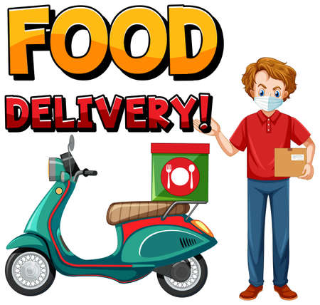 Food delivery  with bike man or courier illustration
