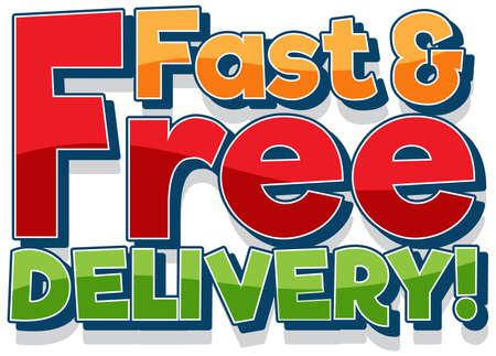 Text delivery banner on white background illustration Illusztráció