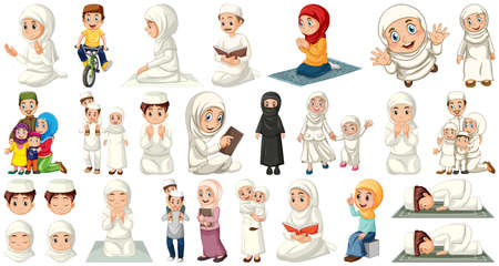 Set of muslim kids character illustration