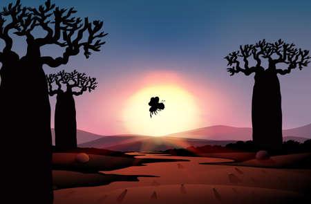 Outdoor nature silhouette sunset scene illustration Illusztráció