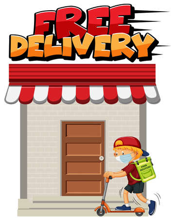 Free delivery  with courier riding on scooter illustration Illusztráció