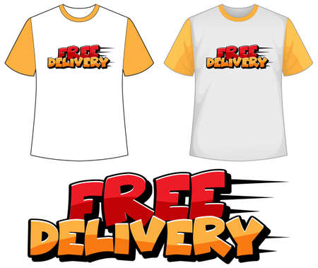 Mock up shirt with free delivery icon illustration
