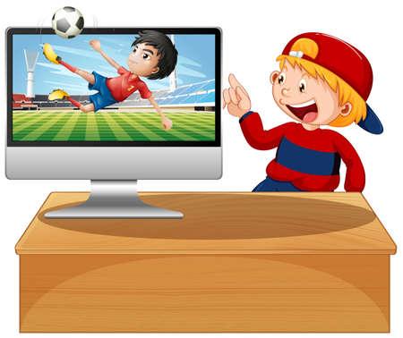 Football on computer desktop screen illustration