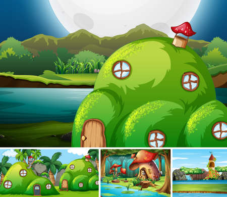 Four different scene of fantasy world with fantasy places such as mushroom house illustration