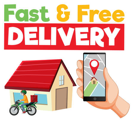 Fast and free delivery  with smartphone illustration Illusztráció