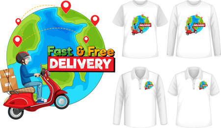Set of different types of shirts with fast and free delivery  screen on shirts illustration Illusztráció