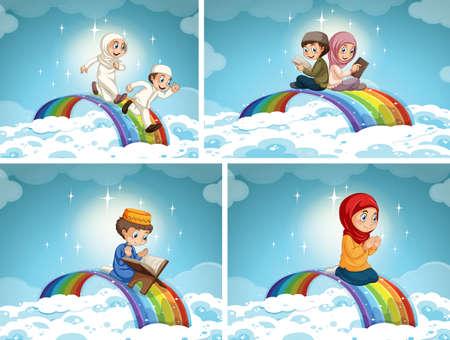 Set of muslim couple kid on rainbow in the sky illustration Illusztráció