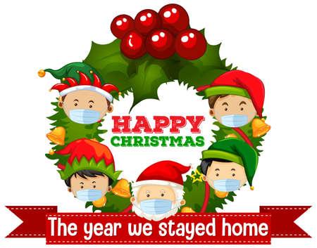 Christmas celebrating during covid illustration Illusztráció