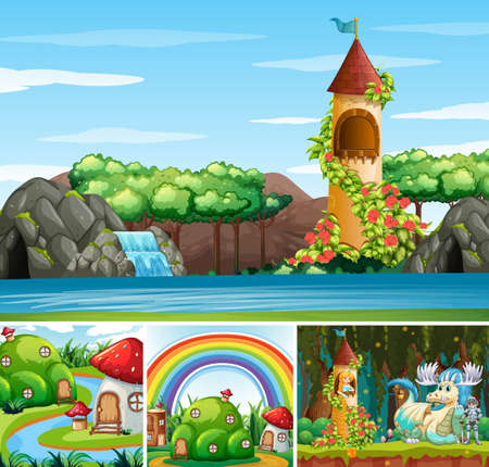 Four different scene of fantasy world with fantasy places and fantasy characters illustration