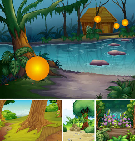 Four different nature scene of forest and swamp cartoon style illustration Stock fotó